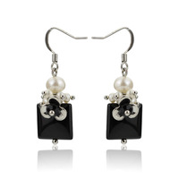 Free Shipping ePacket Retro Black Rhinestone Pearl Platinum Plated Dangle Earrings 1 PC Sale