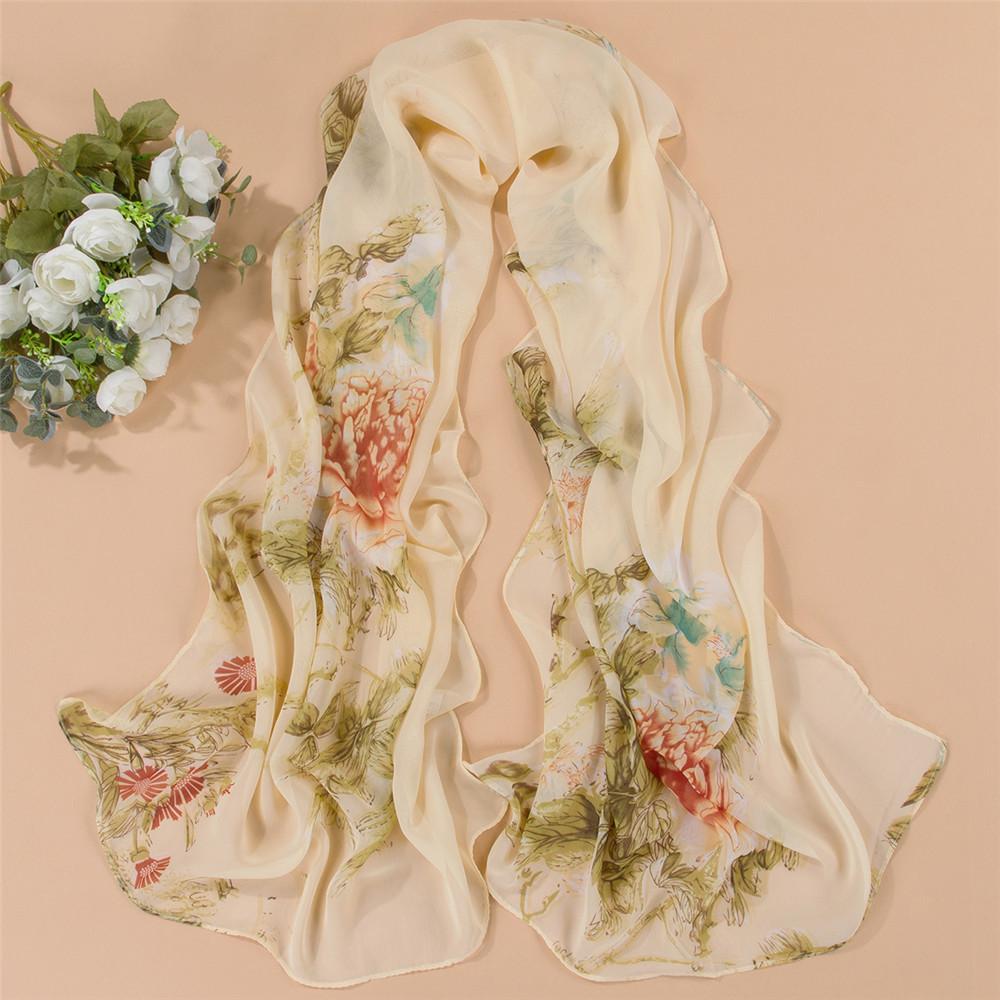 New Fashion Women Flower Print Chiffon Scarf Female Summer Spring Autumn Shawl Rura Accessories Pashmina Novelty Scarves(China (Mainland))