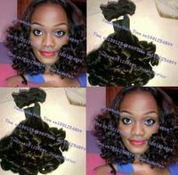 Top 6A Grade 3pcs/lot #1b virgin peruvian aunty funmi hair weft romance curl for black women free shipping