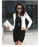 Free Shipping Black/White Fashion Spring 2014 Female Coats Womens Short Jackets With Rivet for Lady's Blazer Cardigan #5855