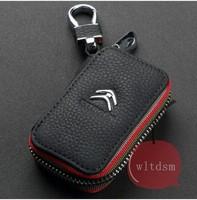 1Pcs Black Leather Car Remote Key Case Fob Zipper Key Bag Holder For Citroen