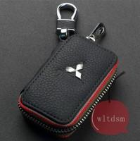 1Pcs Black Leather Car Remote Key Case Fob Zipper Key Bag Holder For MITSUBISHI