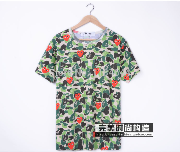 2014 new BAPE PLAY joint camouflage cotton singlet loving couple models short-sleeved T-shirt TEE free shipping(China (Mainland))