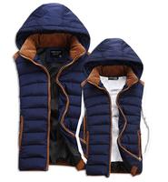 Hot Sale Stars Loves Brand New Arrival Slim Man Vest 2014 Autumn Winters Hooded Cotton Padded Men's Vests 4 Colors 5 Size