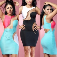 2014 Top Fasion Women Dress Vestido De Festa 2014new Women Sexy Celebrity Sheer Panel Dress Bandage Midi Night Club Pencil 4107