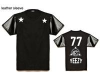 21 styles Leather sleeve YEEZY  tee shirts short sleeve t-shirts leopard o neck tees men's t shirt  summer wear wholesale
