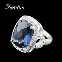 Big Blue Geometric Square Created Gemstone Wedding Rings For Women 2014 Fashion Design Jewelry