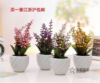 Brief home accessories artificial flower silk flower artificial flower set mini bonsai rustic small bonsai