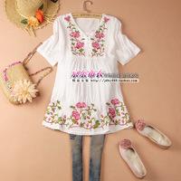 2014 women's plus size one-piece dress embroidered loose gentlewomen shirt  medium-long one-piece dress