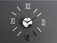 Silver Roma Number Wall Clocks DIY Background Arylic Materials For Nice Present!No Plastic,No Glass!