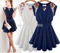 NEW 2014 Summer Fashion Sexy Dress Women Dresses Pure Cotton Round Collar Splicing Women Dress Free Shipping