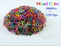 Free shipping 1 packs/lot Hot sell Loom Rubber Bands Loom Bands Refills Bracelet ( 3000 bands+ 125 S-Clips+10 Charm+1 Hook/lot)