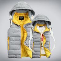 New Arrival 2014 Autumn Winters Cotton Padded Vests Men and Women Patched Hooded Fashion Men Vest Cotton Vest for Lovers