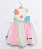 2014 new summer dress children dress princess girl rainbow dress 1pcs retail free shipping