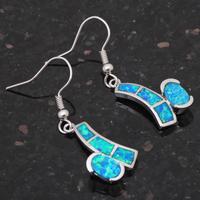 New arrival Simple design Super supplier Blue fire opal 925 Silver Fashion Jewelry Dangle Earrings Fine jewelry OE190