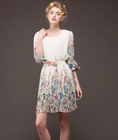 2014 New Fashion Women's Dresses Summer Loose In The High Waist Big Print Chiffon Three Quarter Sleeve Female Dress With Belt