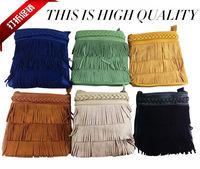 2014 genuine leather Hand-woven belt mini tassel one shoulder cross-body bag for women Casual women handbag women mesesenger bag