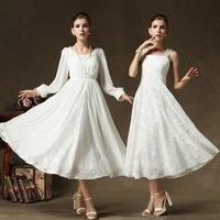 New Fashion 2014 Autumn/Winter Women's Dresses Long Sleeve Lace Chiffon Dress Long Maxi Vintage Ladies Evening Party Dress White