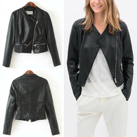 2014 ZA Punk Faux PU Leather Long Sleeved Fitted Biker Jacket Women's MOTORCYCLE Tilt  Zipper Black Short Coat