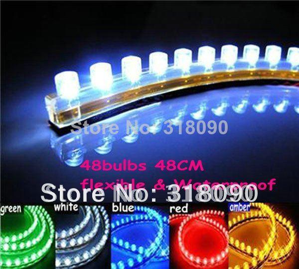 Free Shipping!! 20pcs Waterproof Flexible Car 48 LED Strip PVC lights 48cm Great Wall LED Strip White Green Yellow Red White(China (Mainland))