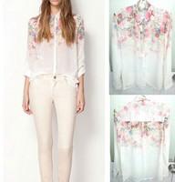 1pcs/lot Fashion Hot Sell 2014 Fashion Women Chiffon Blouses Flower Print Lapel Casual Chiffon Long Sleeved Shirts Women Tops
