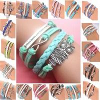 Wholesale Hot Sale Womens Fashion Bangle Vintage Anchors Rudder Rectangle Leather Bracelet Multilayer Bracelets Hot Bangles