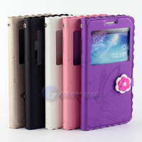 Fashion Cute LOGO 3D Flower Wallet View Window Stand Flip Case Cover For Samsung Galaxy S4 SIV i9500 Phone Case Free Shipping