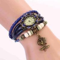 Koshi XR368  crown ladies Quartz Watches Bronze Analog Leather Strap Casual watch Wooden Beads Wristwatches