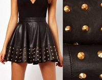 2014 Special Offer Real Freeshipping Rivet Solid Skirts Womens Saias Femininas Denim Skirt 2014new Women Sexy Studded Skirt 322