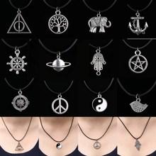 12 Style New Tibetan Silver Pendant Necklace Choker Charm Black Leather Cord Factory Price Handmade Jewlery(China (Mainland))
