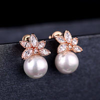 Elegant pearl shell pearsl Women Jewelry Fashion high-grade zircon earrings factory direct Hot selling