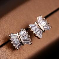 Delicate bow earrings Shiny zircon Crystal Stud Earrings jewelry fashion wild atmosphere Drop Shipping