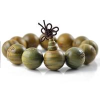 Green words carved beads bracelet elastic wood bracelets sandalwood prayer beads 12mm 15mm men jewelry wholesale 0233
