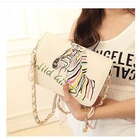 2014 summer new embroidery zebra women handbag chain bag shoulder crossbody bag high quality PU messager bag