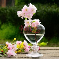 Free Shipping! 6pcs/Lot Hot Sale High Quality Heart-shaped Glass Vases For Home/Wedding Decoration,Modern Floor Vase