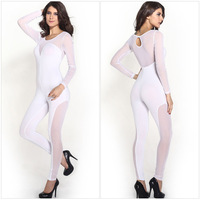 2014New Sexy Womens Ladies gauze Outfits Bodycon White Jumpsuit&Romper Trousers Clubwear Macacao Feminine Free Shippping