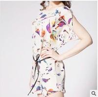 2014 summer new large size Women's clothing European and American bird print loose chiffon dress (distribution belt)