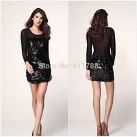 New Arrive 2014 Ladies Fashion Long Sleeve Black Voile Plus Size Pencil Dress Mini Sexy Sequin Bodycon Dresses Women S-XXXL