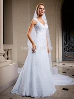 2014 New Vintage Cap Sleeve Long Formal Backless Wedding Dress Bridal Gown vestidos de noivas