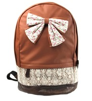 2014 women backpack with big bow sport Pink | Brown Korean PU leather shoulder bag school for girls laptop bow-knot rosette