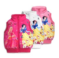 new 2014 Europe and America  Frozen cartoon Snow White cotton vest digital printing winter positioning  hot-selling