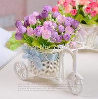 Set Flowers (2 bunch flowers+1pc Basket ) Artificial Flower Simulation flowers decoration Home furn suit flowers