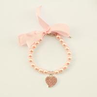 Armi store Handmade Pearl Dog Cat Pink Heart Pendant Necklace 51007 Size L / M / S / XS Pet Bow Boutique Wholesale