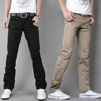 2014 New fashion Men's Casual trousers Pure color pocket zipper Slim straight-leg pants Size 28-33 Black,Khkai