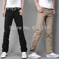 2014 New fashion Men's Casual trousers Pure color pocket zipper Slim straight-leg pants Size 28-33 Black,Khkai