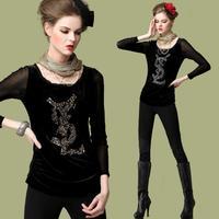 Women's Plus size Fashion Velour Gauze Splice Bottoming shirt 2014 Autumn Long sleeve Beads black blouse Tops L,XL,4XL