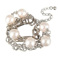 Free Ship $15 Fashion Vintage Statement Party Romantic Jewelry Silver Plated Women Pearl Layered Chunky Bracelet Bangle A00005