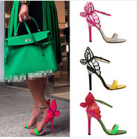 2014 European Women personality wedding high heels Colorful butterfly heeled sandals pumps JC vampire diaries women's shoes