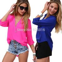 2014 summer new fashion long-sleeve V neck candy color Causal Chiffon blouse shirt women TopLR0032