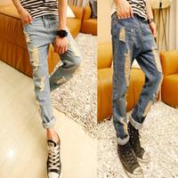 Trousers male slim hole jeans 2015 the boys harem pants taper pants